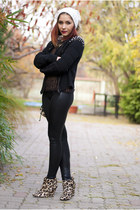 pompom H&M hat - snake skin c&a leggings - Mango bag - Mango wedges