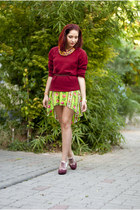 brick red wool mix H&M jumper - chartreuse BAD Style dress