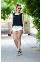 romwe top - romwe shorts - ray-ban sunglasses