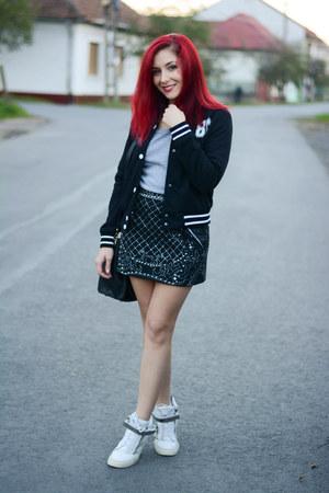 romwe jacket - PERSUNMALL bag - Giuseppe Zanotti sneakers - BADstyle skirt