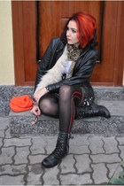 scarf vintage scarf - collar vintage fur scarf - leather jacket BAD style jacket