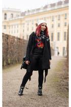 Choies cardigan - romwe coat - Alexander McQueen scarf - Choies shorts