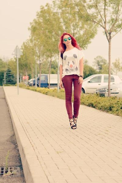 romwe t-shirt - Choies bag - romwe sunglasses - Choies sandals