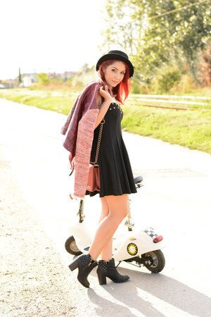 BADstyle jacket - romwe dress - romwe hat - Choies bag
