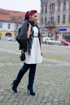 Alexander McQueen scarf - romwe dress - Mango jacket