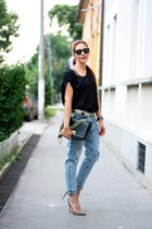 Choies jeans - Cathias Edeline bag - Mango top - calvin klein watch