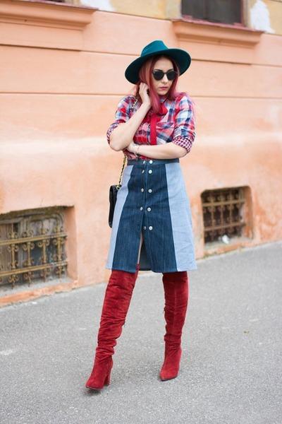 Puppa Fashion skirt - Jessica Buurman boots - Miss Selfridge hat