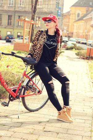 BADstyle t-shirt - romwe jacket - romwe leggings