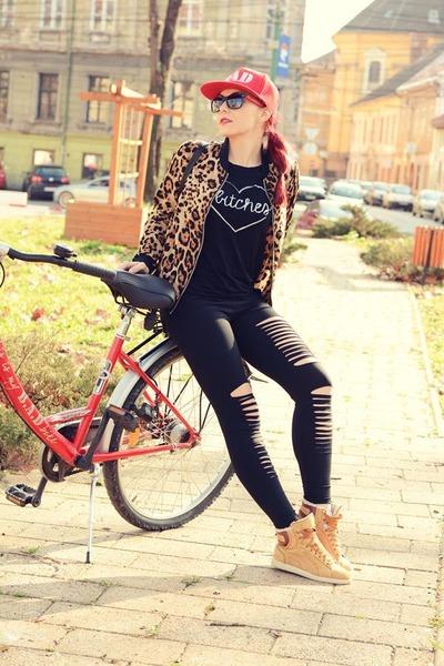 BADstyle t-shirt - romwe jacket - romwe leggings