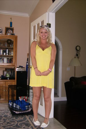 yellow Forever21 dress - white croft & barrow shoes - pink Forever21 accessories
