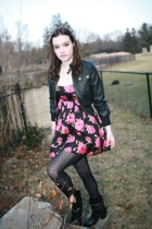 forever 21 jacket - forever 21 dress - Target tights - forever 21 boots