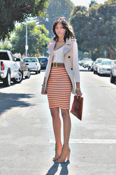 orange navy stripes Zara skirt - vintage Gap purse - camel asos heels