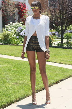 white Zara sweater - black STYLESOFIACOM shorts