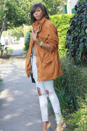 tawny parka WESC jacket - light yellow chrome cap toe Zara pumps