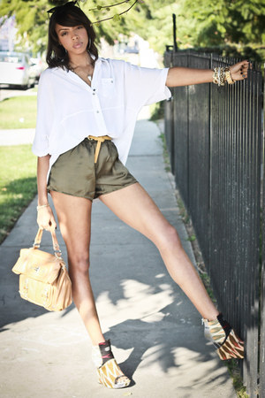 ikat julian louie x Aldo wedges - olive green silk Anarchy Street shorts