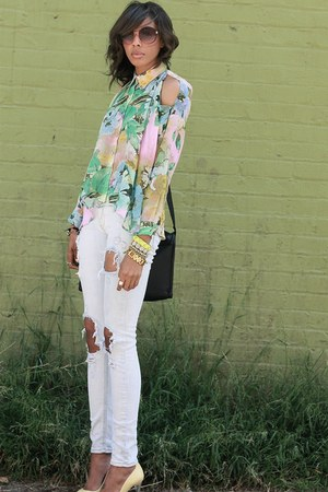 Anarchy Street blouse - light yellow cap toe chrome Zara pumps