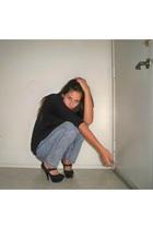 black Forever 21 sweater - gray arquitech jeans - black Catalog shoes