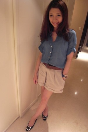 blue korea brand - black Roger Vivier shoes - brown Zara belt - gold chouette ac