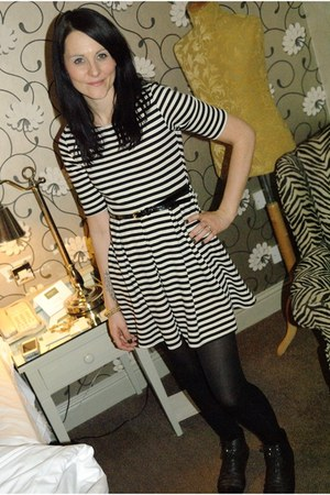 stripe skater new look dress - brogue boots Primark flats
