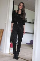 black Samse&Samse t-shirt - black vintage pants - black vintage shoes - black Am
