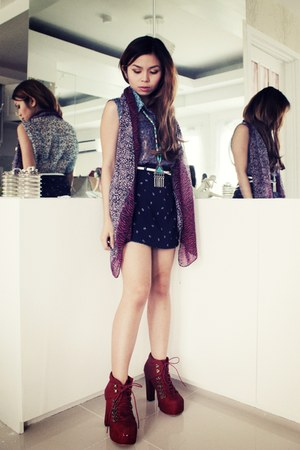 lace-up Asian Vogue boots - ethnic Forever 21 necklace - floral DIY skirt