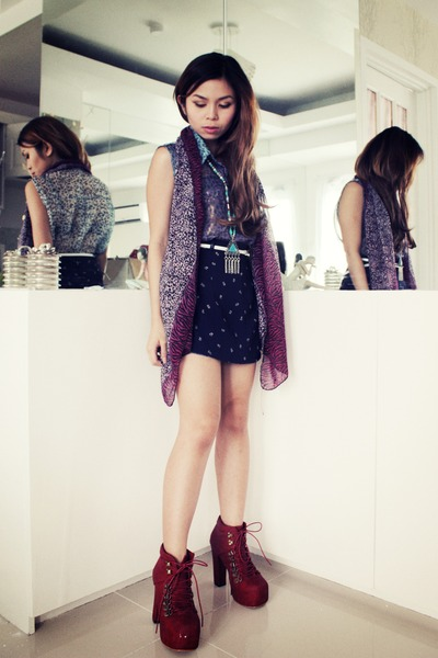 Lace Up Asian Vogue Boots Ethnic Forever 21 Necklace Floral Diy Skirt