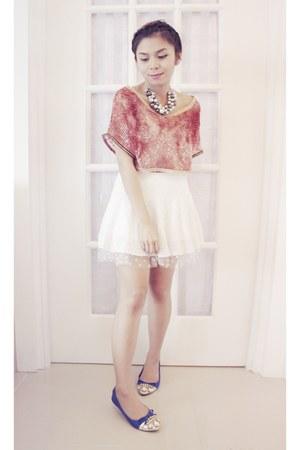 salmon crochet DIY top - white lace tulle vintage skirt