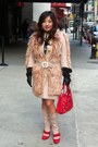 Red-prada-boots-beige-prada-coat-red-versace-bag