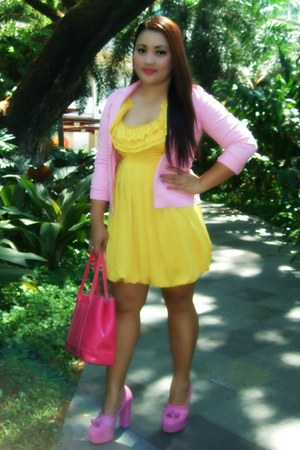 yellow Forever 21 dress - bubble gum The Ramp heels