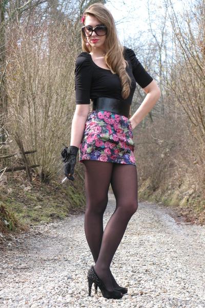 black Zara blouse - pink Zara skirt - black Zara shoes - pink Tarina Tarantino a