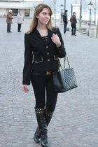 black Bershka jeans - black Hermes belt - black Zara boots - black Chanel purse
