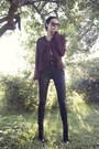 Black-choies-boots-brick-red-giant-vintage-sunglasses-brick-red-monki-blouse