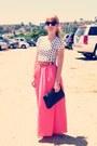Black-vintage-bag-vintage-belt-bubble-gum-skirt-polka-dot-top