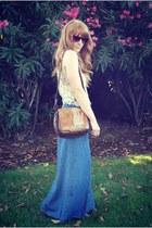 brown vintage leather bag - Aldo sunglasses - sky blue denim maxi wrap skirt