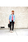 Polka-dot-forever-21-blouse-skinny-jeans-denim-shirt-vintage-coach-bag