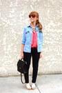 Polka-dot-forever-21-blouse-skinny-jeans-denim-shirt-vintage-coach-bag