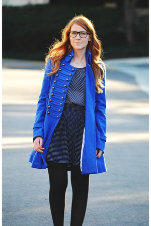 blue coat - mustard Candies boots - black tights - navy polka dot blouse
