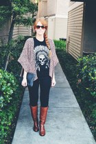 madewell boots - vintage bag - Sanctuary pants - t-shirt - kimono cardigan