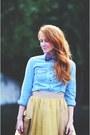 Sky-blue-shirt-camel-tulle-eshakti-skirt-red-corso-como-pumps