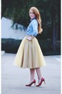 Sky-blue-shirt-camel-tulle-eshakti-skirt-red-corso-como-pumps