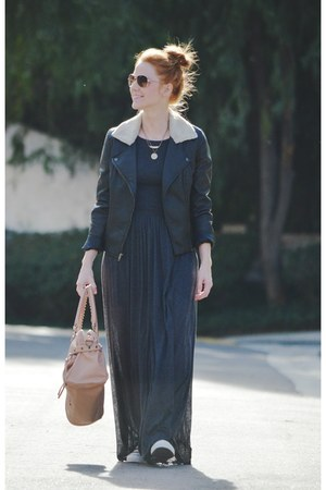 charcoal gray maxi dress - black leather jacket - peach bag