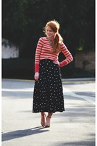 skirt - striped sweater - vintage necklace