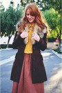 Dark-brown-coat-coral-vintage-skirt-mustard-lace-blouse
