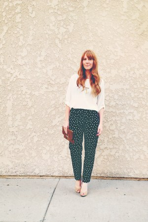 polka dot pants - clydes rebirth necklace - bcbgeneration heels