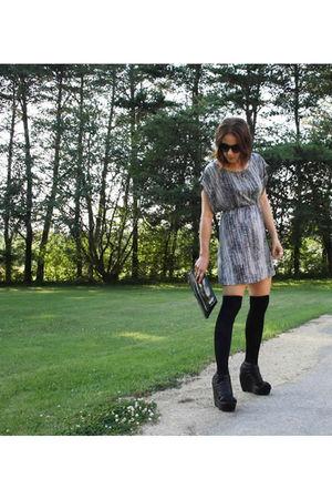 gray MinkPink dress - black Seventh Door socks - black Jeffrey Campbell shoes -