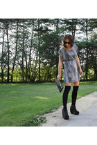 gray MinkPink dress - black Seventh Door socks - black Jeffrey Campbell shoes -