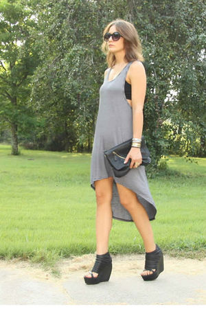 gray MinkPink dress - black aj morgan sunglasses - black Sabina purse - Jewelry 