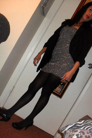 heather gray sequined forigen exchange dress - black Apt 9 tights