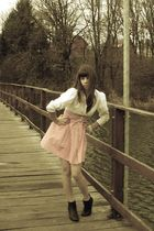 black Zara boots - white vintage from Ebay blouse - pink Made by my friend dress