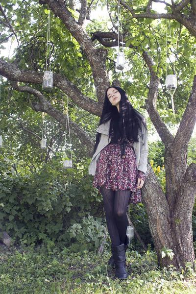beige Ad Hoc jacket - black Nellycom boots - maroon floral H&M dress